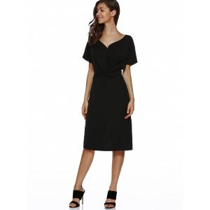 V Neck Knot Knee Length Dress With Short Sleeves - BLACK XL