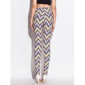 Zigzag Pattern Skinny Elastic Waist Leggings - COLORMIX ONE SIZE