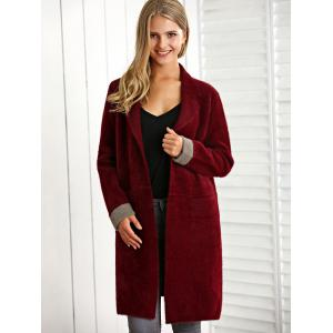 Lapel Neck Color Block Woolen Overcoat -