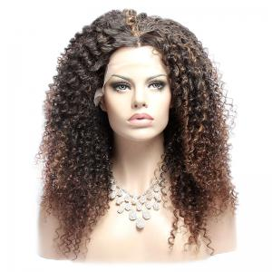 Long Double Color Fluffy Curly Middle Part Lace Front Synthetic Wig - COLORMIX