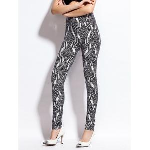 Chevron Print Skinny High Waist Leggings - BLACK ONE SIZE