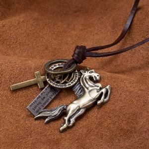 Galloping Horse Ring Cross Pendant Necklace -