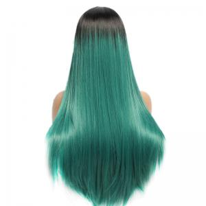 Side Parting Long Straight Synthetic Double Color Lace Front Wig - BLACK/GREEN