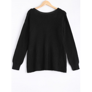 Round Neck Knitted Open Back Sweater -