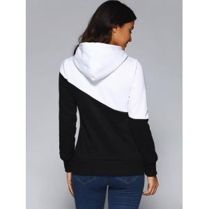 Contrast Color Spliced Pocket Design Hoodie - WHITE AND BLACK 2XL
