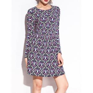 Ornate Print Long Sleeve Pleated Dress -