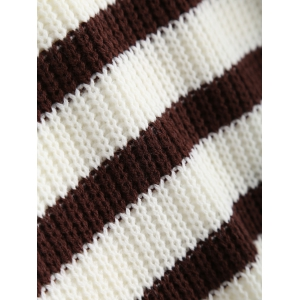 Knitted Boat Neck Stripe Sweater -