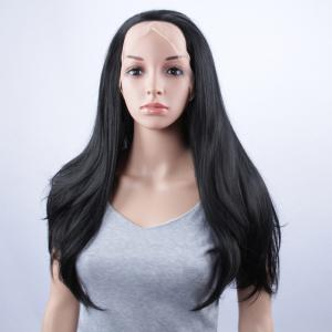 Long Natural Straight Lace Front Synthetic Wig - JET BLACK