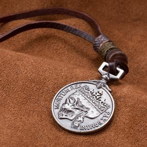 Skull Head Souvenir Coin Pendant Necklace -