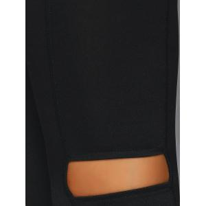 Elastic Waist Cut Out Skinny Pants - BLACK L