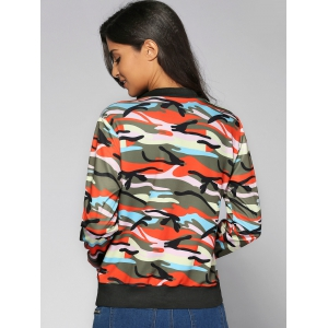 Camouflage Print Zip-Up Jacket -