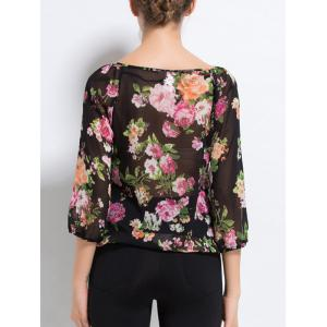 Scalloped Lace Floral Print Sheer Blouse - BLACK XL