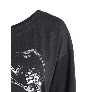 Skew Collar Skeleton Print Halloween Sweatshirt - DEEP GRAY XL
