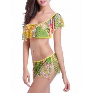 Flounce One Shoulder Floral Print Bikini Set - COLORMIX 2XL