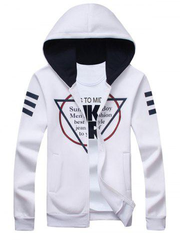 Inverted Triangle Print Long Sleeve Zip Up Hoodie - WHITE 5XL
