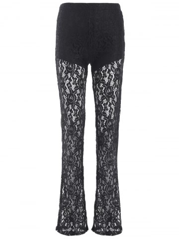 Buy Lace See Through Flare Pants
