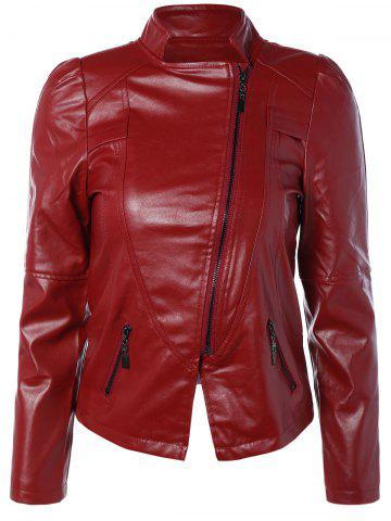 Latest Zip PU Leather Biker Jacket WINE RED 3XL