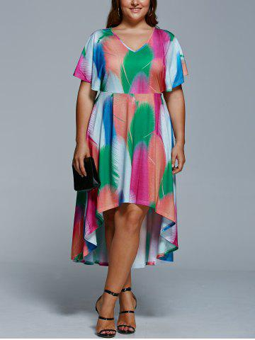 Fashion Plus Size Feather Print Casual High Low Dress With Sleeve COLORMIX 5XL