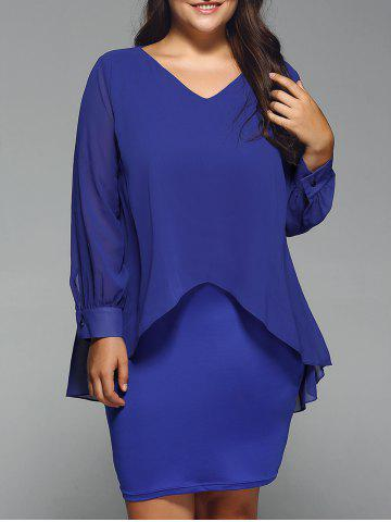 Discount Long Sleeve Popover Dress BLUE 3XL