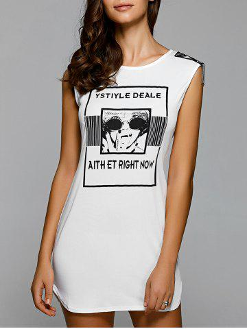 Cheap Letter Print Mini Club Dress WHITE XL