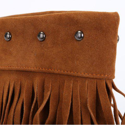 Outfits Studded Fringe Mid Calf Boots - 38 BROWN Mobile