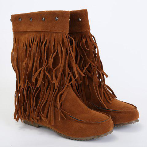 Cheap Studded Fringe Mid Calf Boots - 38 BROWN Mobile