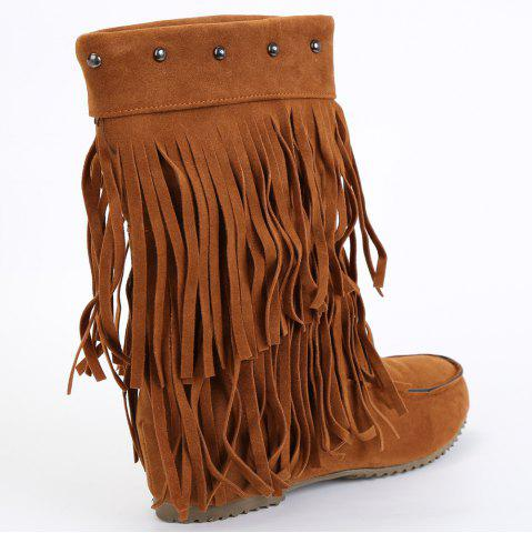 Latest Studded Fringe Mid Calf Boots - 38 BROWN Mobile