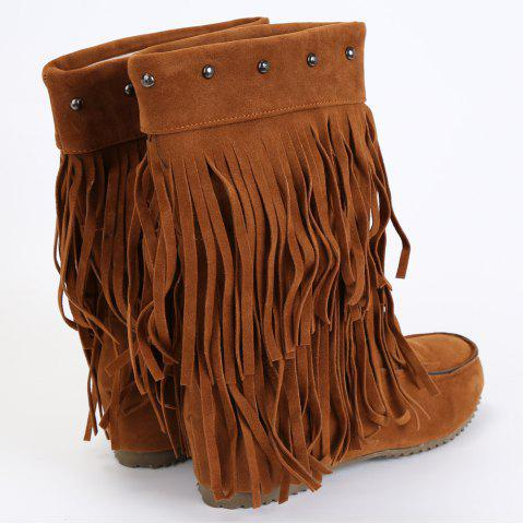 Sale Studded Fringe Mid Calf Boots - 38 BROWN Mobile