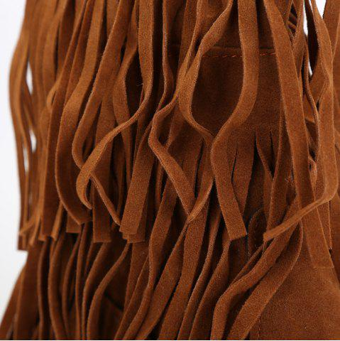 Fancy Studded Fringe Mid Calf Boots - 38 BROWN Mobile