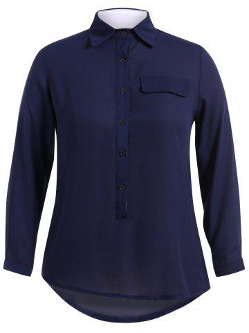 Plus Size Loose Fit Chiffon Shirt - Purplish Blue - Xl