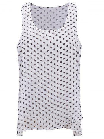 Shop Preppy Style Polka Dot Asymmetric Chiffon Tank Top