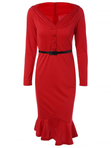Trendy Belted Packet Buttock Long Sleeve Mermaid Dress RED 3XL