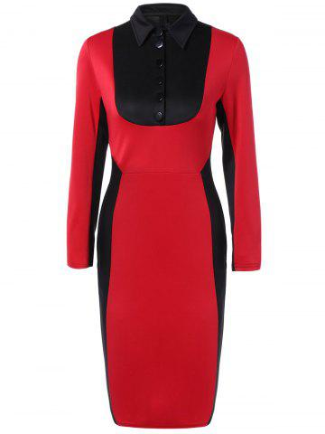 Discount Buttoned Color Block Bodycon Dress RED 2XL