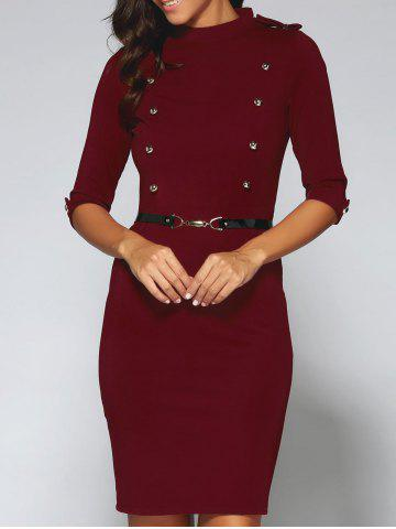 Outfit Belted Double-Breasted Work Sheath Dress