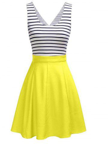 Latest Back Faux Wrap Cutout Stripe Skater Dress