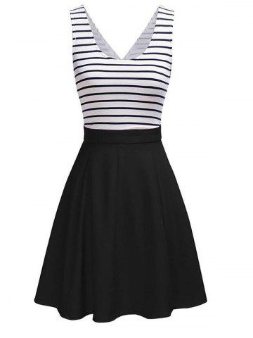 Fancy Back Faux Wrap Cutout Stripe Skater Dress
