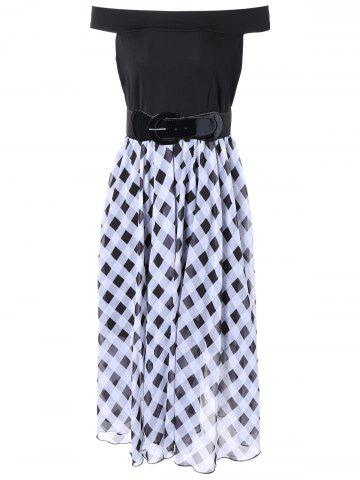 Best Off The Shoulder Checked Chiffon Dress
