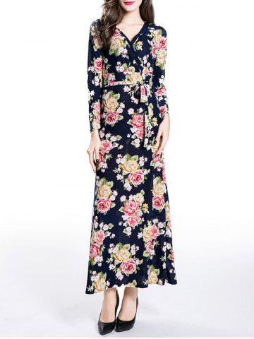 Cheap Wrapped Long Floral Print Maxi A-Line Dress PURPLISH BLUE XL