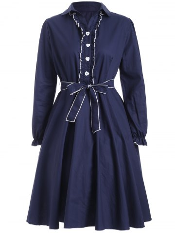 Outfits Buttoned Belted Ruffled Fit and Flare Dress