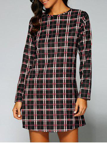 Store Long Sleeve Checked A-Line Dress
