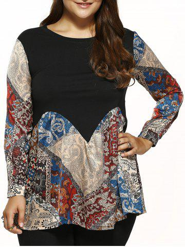 Latest Loose Vintage Printed Blouse - XL BLACK Mobile
