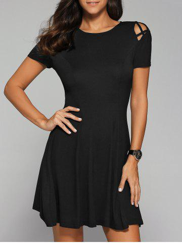 Affordable Hollow Out Pleated Dress