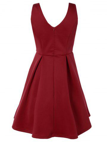 Shop V Neck Fit and Flare Cocktail Dress - XL RED Mobile