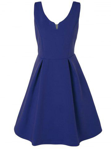 V Neck Fit and Flare Cocktail Dress