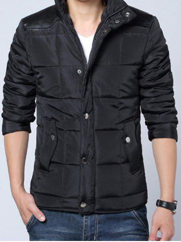 Shops Stand Collar PU-Leather Spliced Zip-Up Padded Jacket
