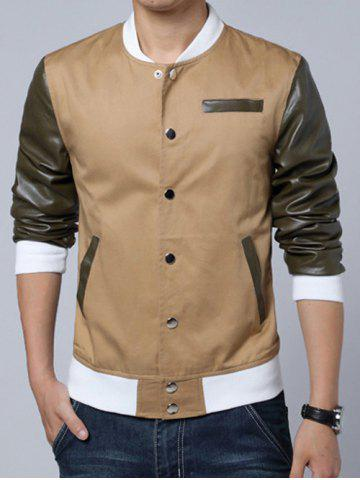 Affordable Stand Collar PU-Leather Splicing Design Color Block Jacket