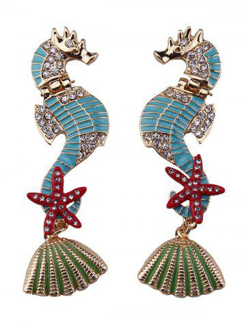 Buy Rhinestone Hippocampus Starfish Conch Shape Earrings