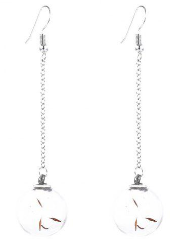 Trendy Glass Dry Dandelion Chain Drop Earrings