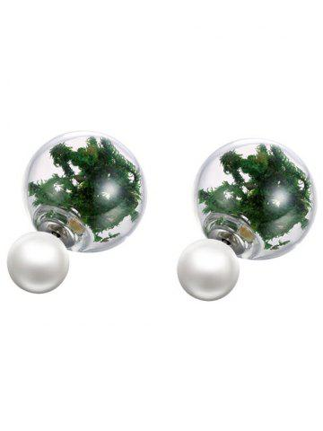 Shop Faux Pearl Glass Dry Plant Earrings GREEN