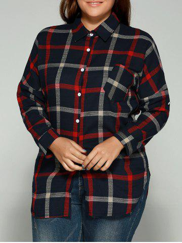 Fashion Plus Size Checkered Print Back Buttoned Shirt RED 5XL